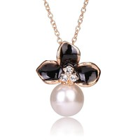 Tribal Collection Pearl White and Black Flower Gold Necklace