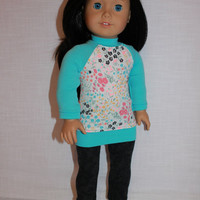 blue and white floral raglan sleeve top, black lace look leggings, 18 inch doll clothes, American girl, Maplelea