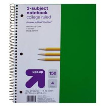 up & up™ 3-Subject College Ruled Notebook, Black - 120 sheets