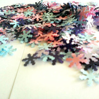 500 pcs Snowflake Confetti, Pink Purple Lavender Blue, Winter Wedding, Birthday Party, Baby or Bridal Shower, Paper Snowflake, Table Scatter