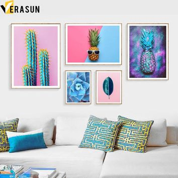 Pineapple Cactus Succulent Plants Flower Nordic Posters And Prints Wall Art Canvas Painting Wall Pictures For Living Room Decor