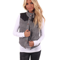 Black Snap Button Vest With Faux Suede Shoulders
