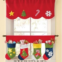 2pcs Christmas Stockings Curtain Decor Pennant Bunting Valance