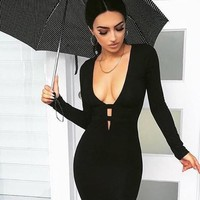 Black Cut Out Bodycon Deep V-neck Long Sleeve Homecoming Party Midi Dress