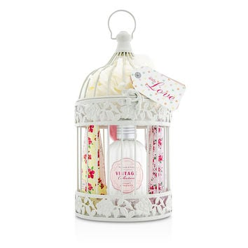 Heathcote & Ivory Vintage Enchanted Birdcage with Assorted Pampering Treats: 2x Hand Cream 100ml/3.38oz + Body Cream 250ml/8.45oz + 4x Heart Soap 18g + Puff - 8pcs