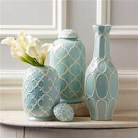 Belle Isle Porcelain Decorative Jars Set of 3