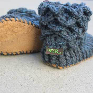 LEATHER SOLES, Handmade Crochet Crocodile Stitch Baby Booties from Super soft Merino wool, Crochet baby socks, Toddler 2 years old