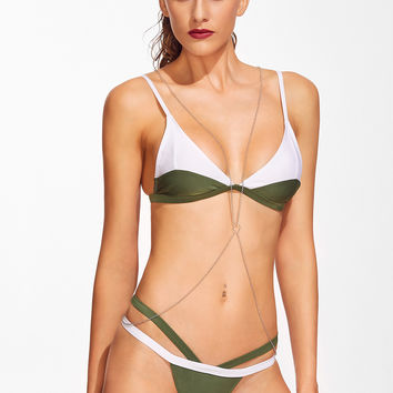 Color Block Double Strap Triangle Bikini Set