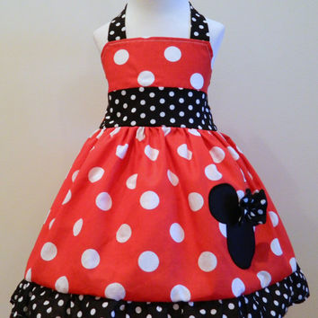 Minnie Mouse Dress Red And black And White Polka Dot Halter Dress 12M To 6Y