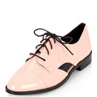 Pink Cut Out Lace Up Shoes