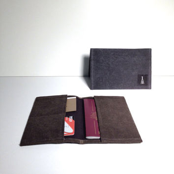 Passport wallet in waxed canvas - Volcano Store