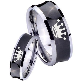 His Her Black Concave Crown Two Tone Tungsten Wedding Rings Set