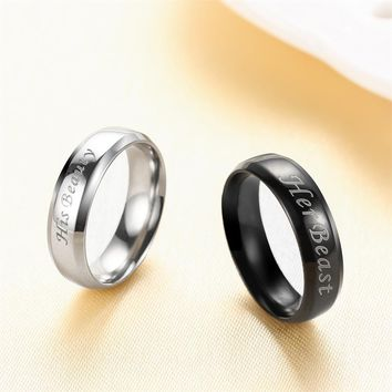 AZIZ BEKKAOUI Customized Name Wedding Rings Stainless Steel Finger Rings Beast Beauty Black & Silver Wedding Ring for Men Women