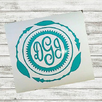 Monogram decal, Boho Decal, Yeti Cup Decal, Boho Feather, Feather Decal, Sticker for Cup, Vinyl Decal, Personalized Womens