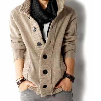 Classic Stand Collar Cable Knitted Button Down Cardigan Sweater for Men
