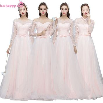beautiful brides maids light pink bridesmaids dresses with lace long sleeves for wedding occasion different styles B3886