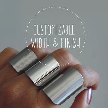 Customize your own cuff ring / silver tube ring / statement ring / wide band ring / adjustable armor ring / choose your finish