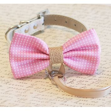 Pink and burlap Dog Bow Tie ring bearer, Burlap Wedding