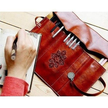 HOT Sale Cosmetic Make Up Pen Pencil Retro Leather Pouch Purse Bag Case [10198322951]