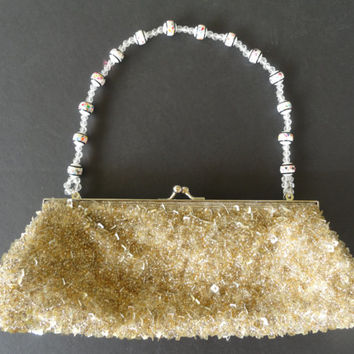 Vintage Hand Made Gold Beaded Evening Bag