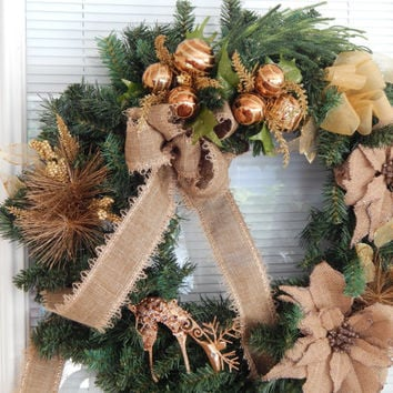Christmas Wreath- Burlap Rustic Winter Wreath- Christmas Décor- Front Door Wreath- Holiday Wreath- Christmas Bulb Wreath- Etsy Wreath