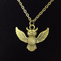 Small spread winged antiqued bronze owl necklace