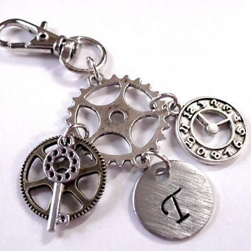 Steampunk Zipper Pull, Personalized Jewelry, Hand Stamped Jewelry, Personalized Steampunk Jewelry