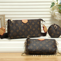 Women Leather Handbag Tote Shoulder Bag Clutch Bag Cosmetic Bag Set Three-Piece
