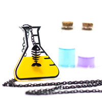 Chemistry Necklace,Fishbone in Acid Necklace,Geek Jewelry,Lasercut Acrylic