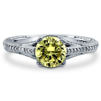 Sterling Silver Round Canary Yellow CZ Solitaire Ring 1.65 ct.tw1 Review(s) | Write A ReviewSKU# R917-02