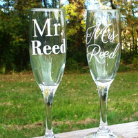Wedding champagne glasses Mr and Mrs monogrammed personalized wedding day glass wedding decor wine glass