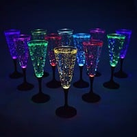 Light up Champagne Glass, Multi Colored - Set of 12 Glasses