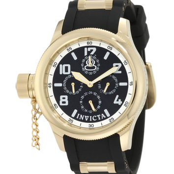 Invicta 1813 Women's Russian Diver Lefty Gold Tone Black Dial Rubber Strap Watch