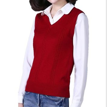 Autumn and winter new cashmere vest women V neck knitted sweater clothing sleeveless sweater vest sets of large yards waistcoat