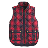 J.Crew Womens Excursion Quilted Vest In Buffalo Check