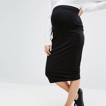 ASOS Maternity Over The Bump Midi Pencil Skirt in Jersey at asos.com