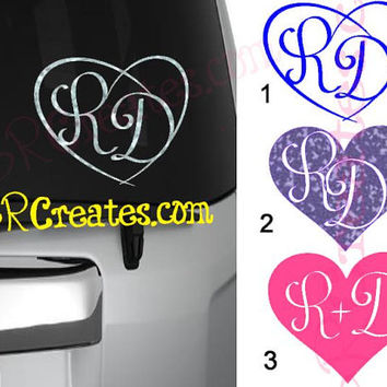Heart Initials Decal, Custom Couple Decal Glitter or Regular