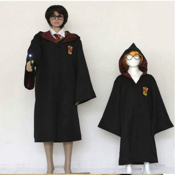 Harry Potter Robe Gryffindor Cosplay Costume Kids Adult Harry Potter Robe Cloak Halloween Costumes For Kids Adult