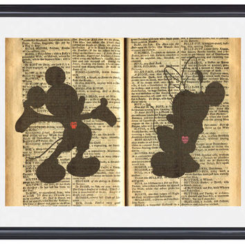 "Mickey and Minnie Mouse Silhouette: 5"" X 7"" Art Print, With Heart Studios - Disney, Nursery, Gift, Vintage, Poster"