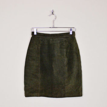 Vintage 80s Green Brown Leather Skirt Suede Skirt Mini Skirt High Waist Skirt Pencil Skirt Body Con Bodycon Motorcycle Skirt Biker Skirt M