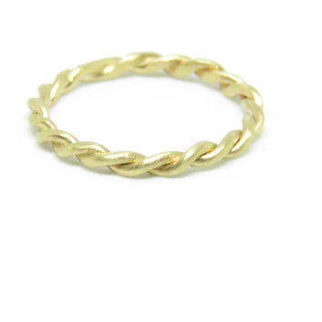 9ct Solid Gold Twisted Rope Stacking Ring Band- Handmade-Wedding Ring-Prom-Celebration Ring