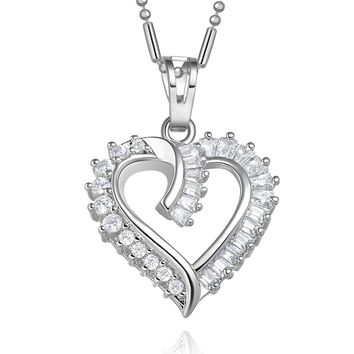 Fancy Eternity Love Powers Heart Lucky Amulet Silver-Tone Baguette Crystals 18 Inch Necklace