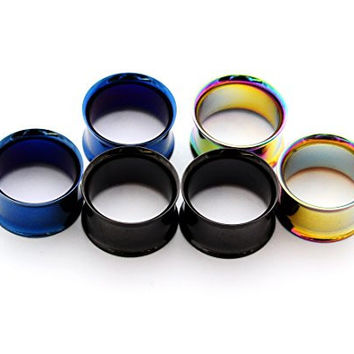 "Set of 3 Pairs Steel Double Flare Tunnels - 5/8"" - 16mm - (Blue, Black, Rainbow)"