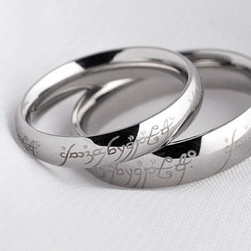 2pcs Free Engraving Lord of the rings titanium rings, Wedding Couples Rings, his and hers wedding ring sets, promise rings, matching rings