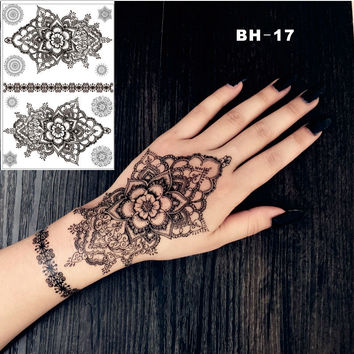 #BH-17 Hand Drawing Mandala  Black Henna Temporary Tattoo  Inspired Body Sticker