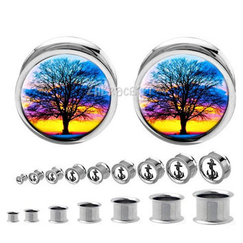 Double flared  steel Sunset Tree Branching Out  Plug    ,Stainless steel  ear plugs,tapers and plugs,0g, 00g