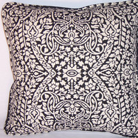 """Filigree Medallion Throw Pillow Black and White 16"""" Square Insert Included Ready Ship Complete Cushion Reversible Leaf Cotton Welted"""