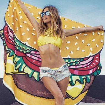 Fashion Hamburgers Print Beach Towel  Sunscreen Shawl Yoga Cushion