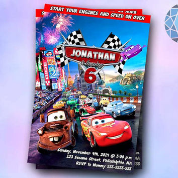 Lightning mcQueen cars Design Invitation by SaphireInvitations