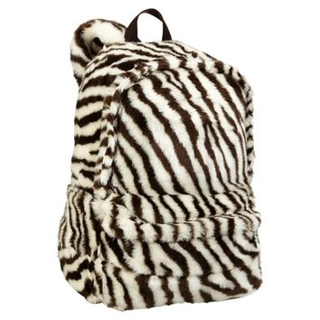 Faux Fur Zebra Backpack